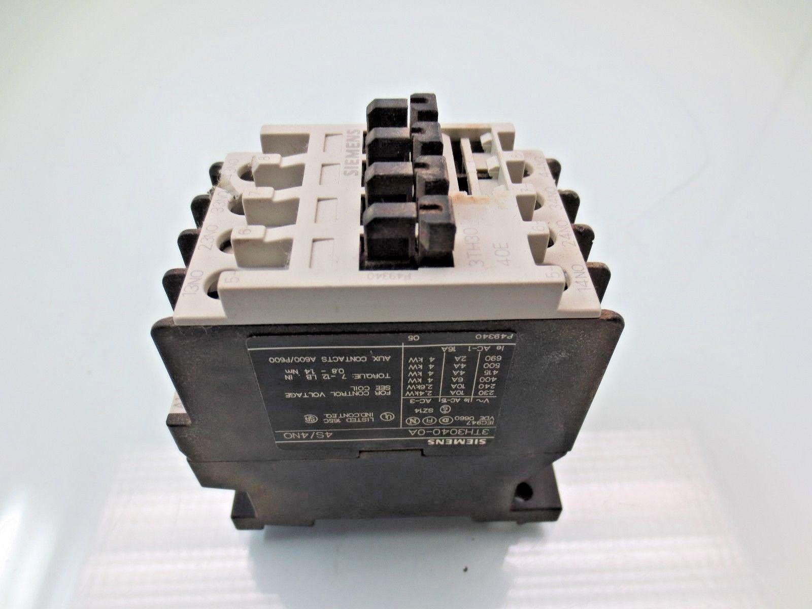 siemens relay 3th3040 0a contactor 110vac coil 10 amp 3th30 ebay rh ebay com