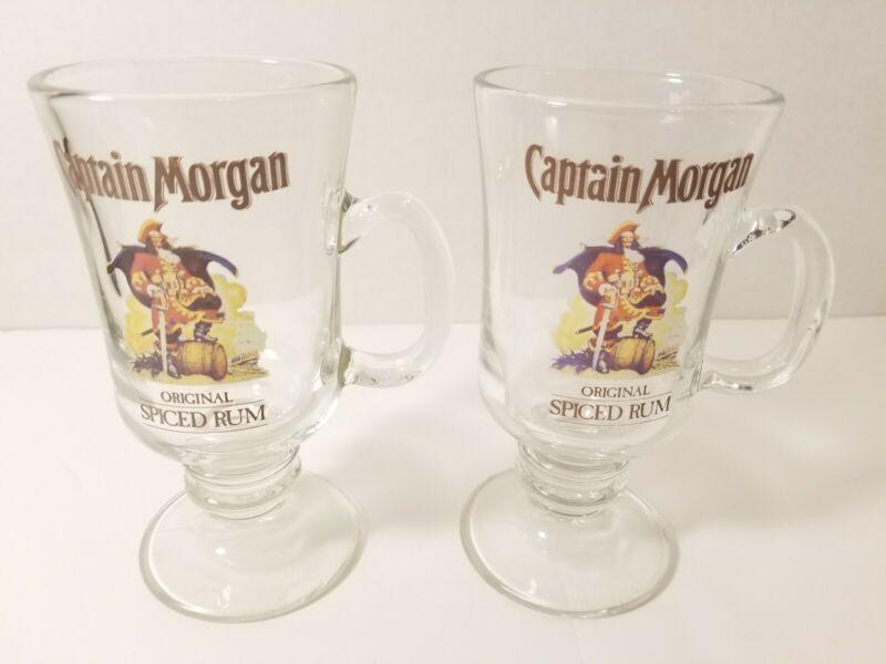 Set of 2 Vintage Captain Morgan Rum Glass Mug