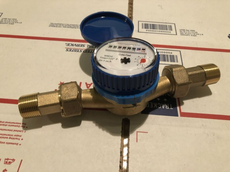 3/4Inch Water Meter  Brass(NO Plastic)WM34CC ,With Couplings HEAVY DUTY