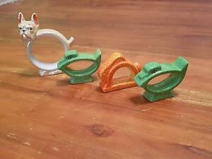 Vintage serviette rings / napkin rings. Bulldog, Ducks, Rabbit. Yokine Stirling Area Preview