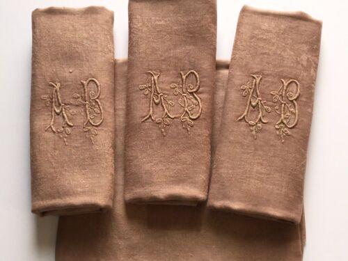 "French Linen Napkins Monogramesd ""AB"" S/4 Large Dinner Size"
