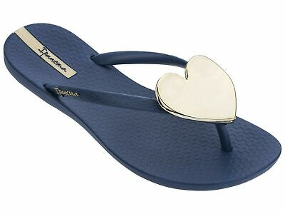 Women's Ipanema Wave Heart Flip Flops Sandal Shoe Blue/Gold Size 9 New With Tags