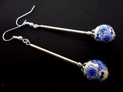 A PAIR LONG DANGLY BLUE/WHITE PORCELAIN FLOWER BEAD EARRINGS. NEW