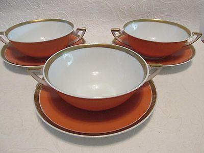 3 1939 Royal Copenhagen Cream Soup + Saucers 984/9571 Gold Encrusted Rim wMelon