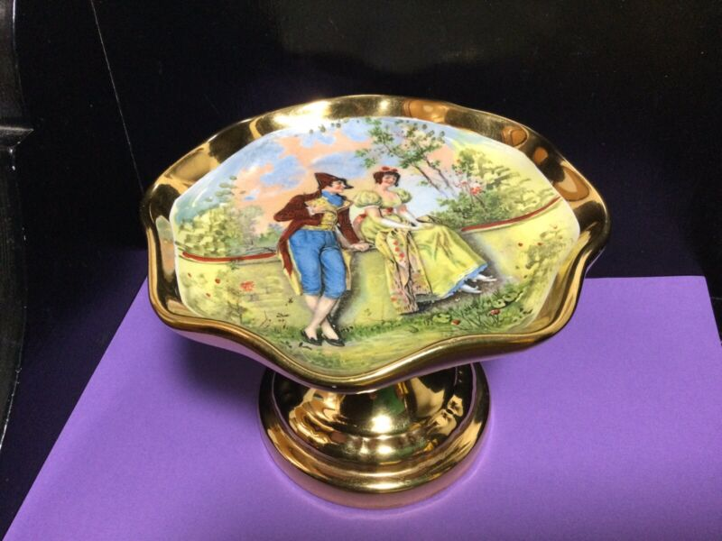 """Vintage Osborne China 22K Gold Footed Compote Dish Courting Couple 4 1/2"""" Tall"""