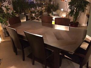 Solid dark wood dinning table set