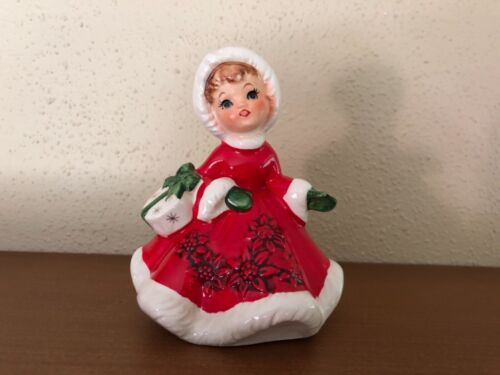 Vintage Lefton Christmas Girl Figurine Red Dress Holding Starburst Package