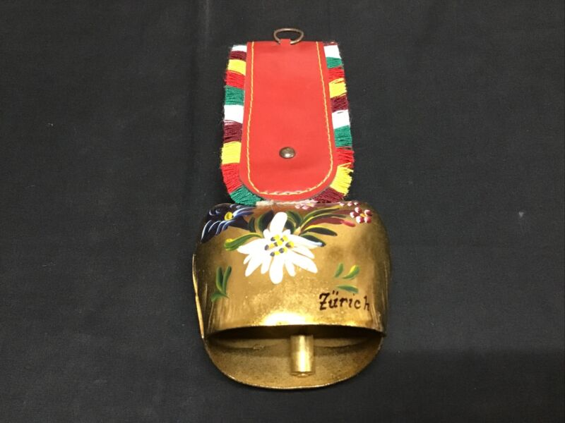 Zurich Brass Cow Bell Hand Painted Signed with Fringed Red Leather Strap Vintage