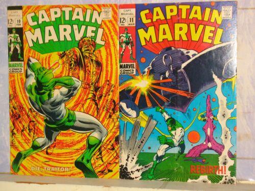 CAPTAIN MARVEL  #10, 11   1969  F, VG/FN   MARVEL COMICS   (CAROL DANVERS)