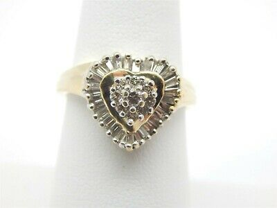 14K Gold Baguette & Round Prong Set Diamonds Heart Ring 1 TCW Size 6.5