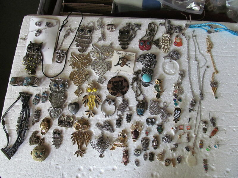 Fabulous Lot Of 79 Assorted Owl Jewelry Pieces - Pendants & Pins & More - LOOK!!