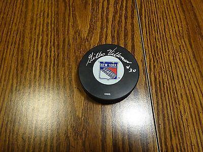 Gilles Villemure #30 Signed Auto New York Rangers Hockey Puck PSA/DNA Certified