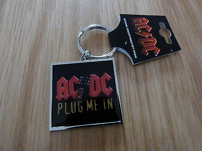 AC/DC - PLUG ME IN METAL KEYRING (NEW) OFFICIAL BAND MERCH