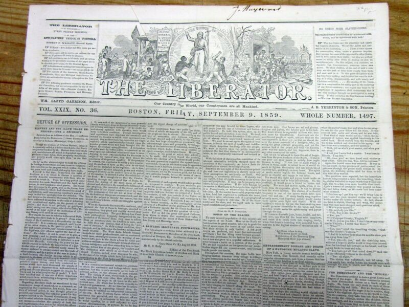 1859 anti-slavery newspaper w long VERY EARLY HISTORY of AFRICAN-AMERICAN MUSIC
