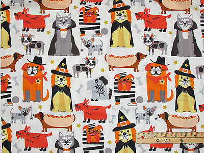 Boo Crew Dog Halloween Costume Dress Up Ivry Fabric by the 1/2 Yd - Boo Dog Halloween Costume