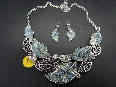 Natures Silver Metal Cut Out Colorful Leaf Design Fashion Jewelry Necklace Set