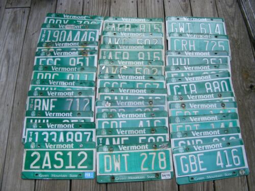 30 Vermont License Plate Lot - Green Mountain State Expired Tags