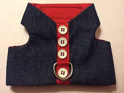 Denim Dog Harness Vest - Denim w/ Red Dog Vest Harness - XL (675)