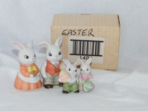 New Homco: Holiday . Easter . Spring . Bunny Family w/ Colored Easter Eggs