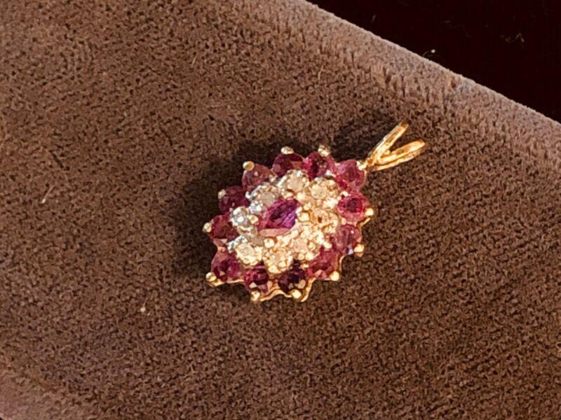 Vintage 14 karat yellow goldRuby and Diamond drop pendant