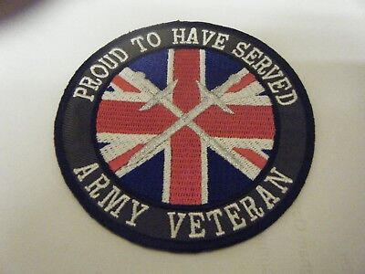 BRITISH ARMED FORCES ARMY VETERANS PATCH,  - silver swords, proud to have served