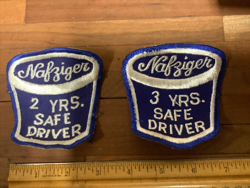 Pair Of Vintage Ice Cream Safe Driver Patches Nafziger's Archbold Ohio INV-B19