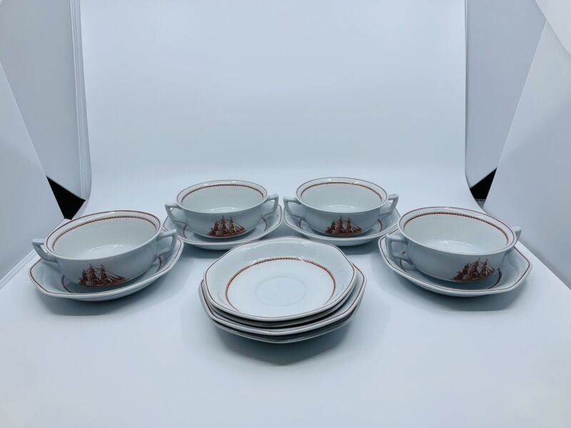 Wedgwood Flying Cloud Rust Cream Soup Bowls & Saucers