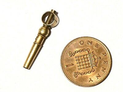 Antique Pocket Watch Key with Unusual Twist Function Steel & Gold