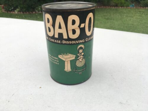 """Vintage Bab-O """"Grease Dissolving Cleaner"""" Sealed Can, 1940"""