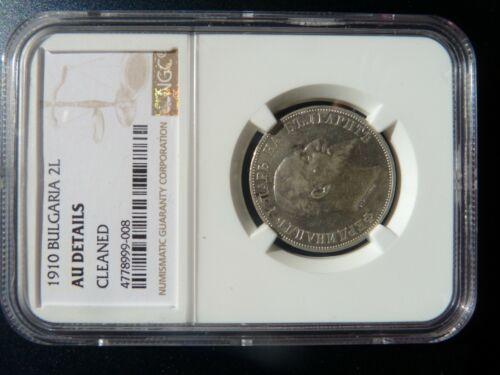 Bulgaria, Bulgarian 1910 2 Leva Silver Coin, Certified NGC AU Details
