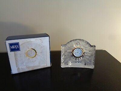 "MIKASA Crystal Miniature Mini DESK CLOCK ""Maple"" 3.5 (Clear Maple Desk)"