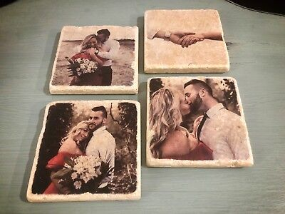 Custom Coaster Set - Natural Stone Personalized Photo Coasters - Personalized Photo Coasters