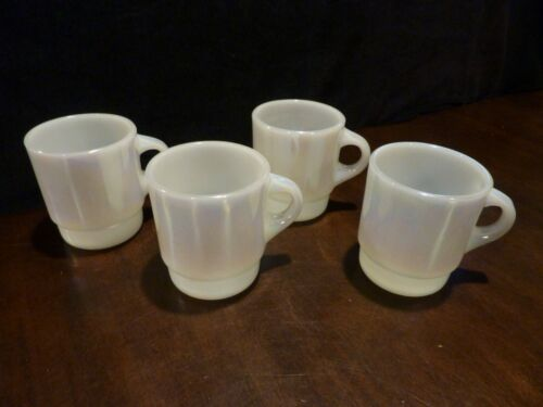 Fire King iridescent moonglow set of 4 stacking coffee mugs