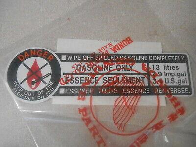 Honda CB CX XR XL CBX CM gas tank caution label sticker OEM BLACK