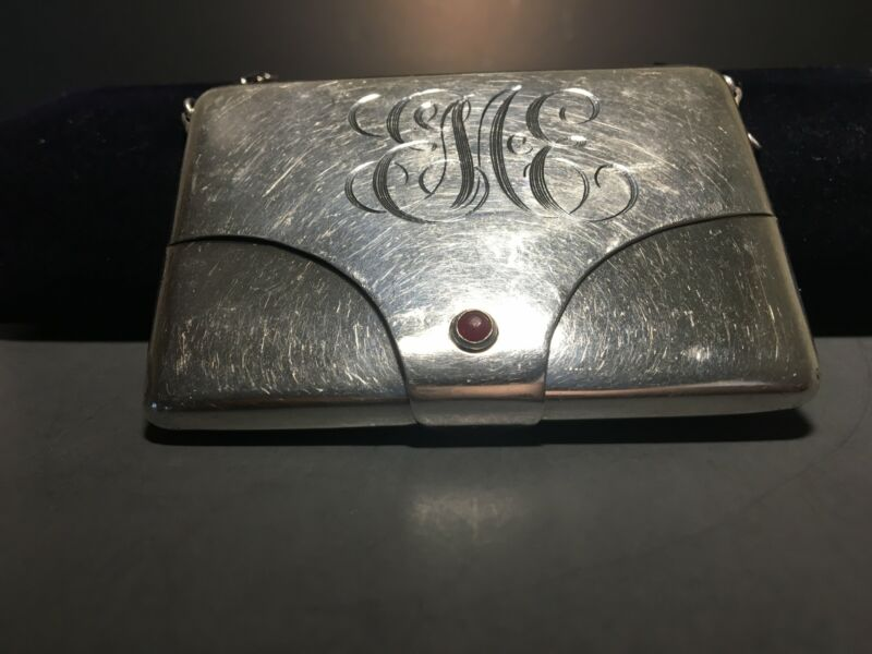 Antique Watson Company Sterling Silver Card Case w/ Chain