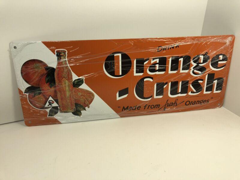 Vintage Orange Crush Soda Bottles Sign Metal