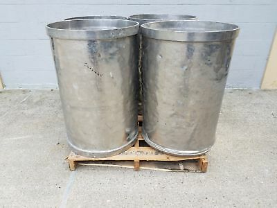 Used Open Top Stainless Steel Drums 4 Pack Lot Number 7