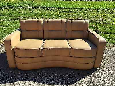 "Villa International RV Sofa 74"" Bed Ultraleather boat motorhome FT couch TAN"