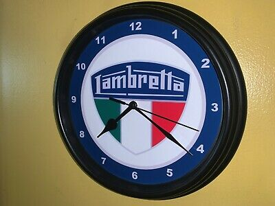 Lambretta Motorcycle Motor Scooter Garage Man Cave Black Wall Clock Sign