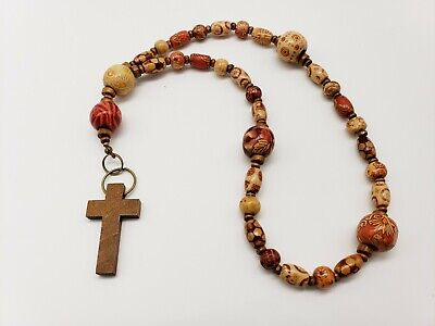Anglican Protestant Prayer Beads: Wood Beads with Designs Anglican Rosary Beads