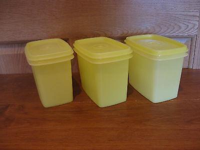 TUPPERWARE 3 vintage yellow shelf saver storage containers #1243