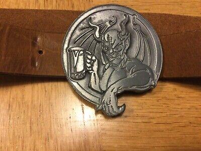 """Arrogant Bastard Belt Buckle and Bottle Opener, with 32"""" brown leather belt"""