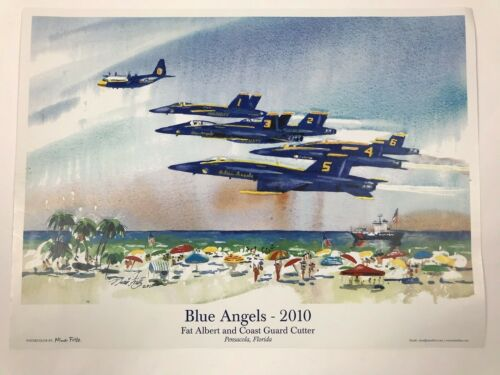 "Blue Angels 2010 Fat Albert And Coast Guard Cutter Print By Nina Fritz 17.5""x13"""