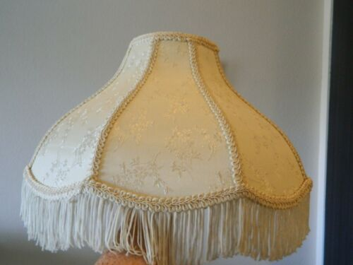 "VTG Victorian Floral Style Lamp Shade Ivory Cream Brocade Fringe 15"""