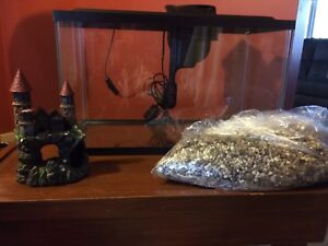 Fish Tank, filter, gravel and castle ornament