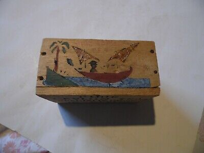 Vintage hand painted pure ceylon tea,packed in Ceylon,wooden box with lid -empty