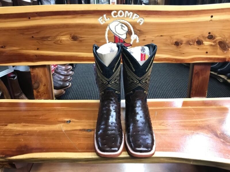 Mens, Cowboy, Boots, Ostrich, Brown, Leather, Western, Rodeo, Square, Toe