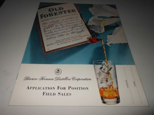Vtg Brown Forman Distillers Corp Application for Position Field Sales