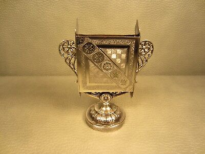 Rare Antique James Tufts Silverplated Playing Cards Holder # 2680 of Boston