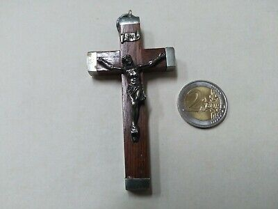 PENDANT CRUCIFIX JESUS CHRIST ANTIQUE WOOD AND METAL - HEAVY - REF43043